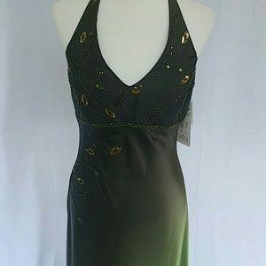 NWT beaded ombre green formal halter dress